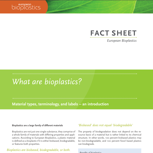 European Bioplastics - Fact Sheet: What are Bioplastics 2016