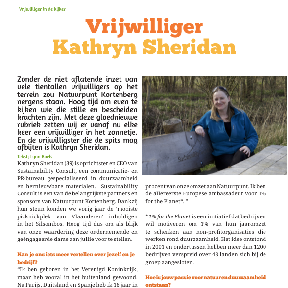 Kathryn Sheridan Interview in De Kaardebol April 2016