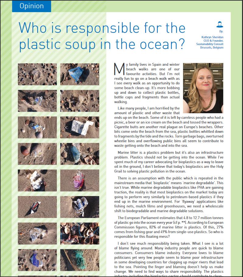 Kathryn Sheridan opinion piece on marine littering in Bioplastics Magazine June 2020