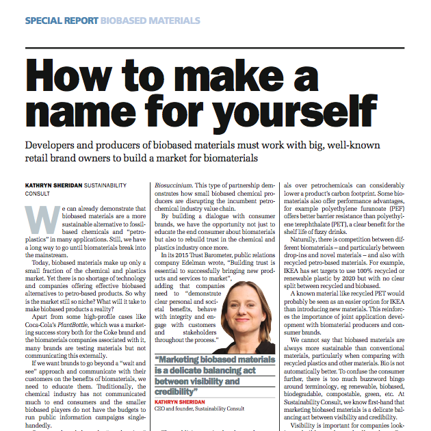 Kathryn Sheridan 'How to Make a Name for Yourself' in ICIS Chemical Business December 2015