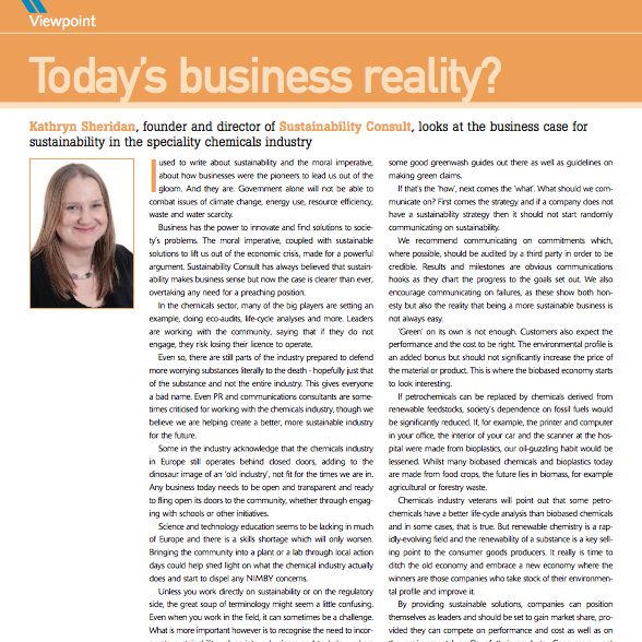 Kathryn Sheridan 'Today's Business Reality?' Speciality Chemicals Magazine July 2011