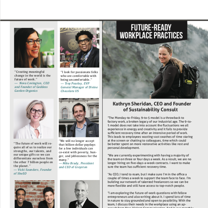 Kathryn Sheridan on Future read Workplace Practices in Conscious Company Magazine Fall 2018