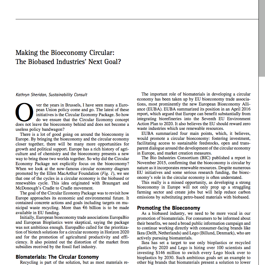 Kathryn Sheridan 'Making the Bioeconomy Circular: The Biobased Industries Next Goal?' in Industrial Biotechnology December 2016