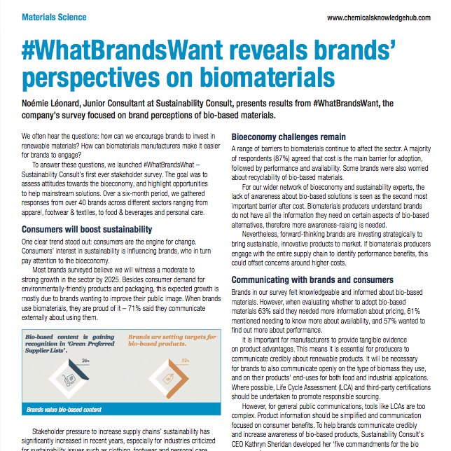 Noémie Léonard '#WhatBrandsWant reveals brands' perspectives on biomaterials' in Chemicals Knowledge Hub April 2018